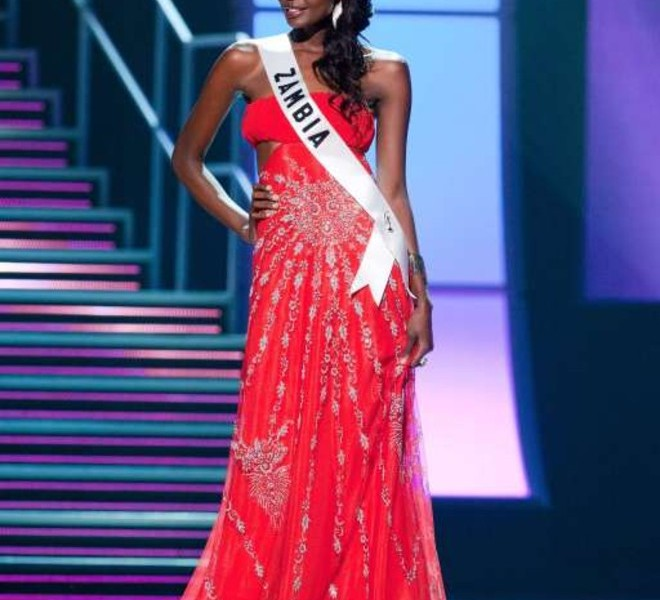 Miss Zambia 2010 Alice Musukwa is dressed in a gown during a preliminary event of the 2010 Miss Universe Competition in Las Vegas, Nevada on Thursday, August 19, 2010. The Miss Universe 2010 competition will air live on the NBC Television Network at 9 PM ET, August 23, 2010.     AFP PHOTO / Miss Universe Organization LP, LLLP   == RESTRICTED TO EDITORIAL USE / NO SALES / NO MARKETING / NO ADVERTISING ==