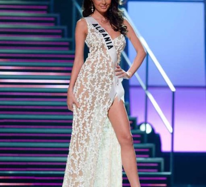 Miss Albania 2010 Angela Martini appears on stage during a preliminary event of the 2010 Miss Universe Competition in Las Vegas, Nevada on Thursday, August 19, 2010. The Miss Universe 2010 competition will air live on the NBC Television Network at 9 PM ET, August 23, 2010.     AFP PHOTO / Miss Universe Organization LP, LLLP   == RESTRICTED TO EDITORIAL USE / NO SALES / NO MARKETING / NO ADVERTISING ==