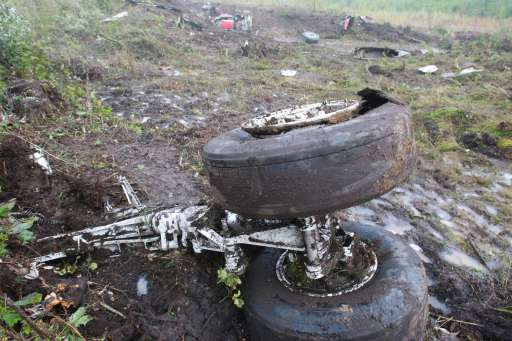 One of the wheels of the wreckage of the Henan Airlines ERJ-190 jet made by Brazilian company Embraer, lies at the crash site in the northeast city of Yichun in remote Heilongjiang province on August 25, 2010.  A Chinese airliner smashed into two pieces while trying to land in heavy fog, leaving at least 42 people dead but 54 survivors in the country's first major air disaster in nearly six years.          CHINA OUT    AFP PHOTO