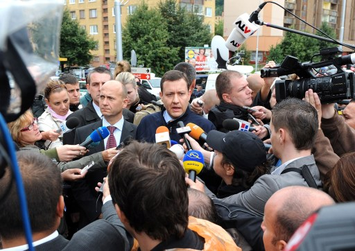 Slovak Interior Minister Daniel Lipsic (R) and Slovak Police President Jaroslav Spisiak (L) speak to the media on August 30, 2010 in the Bratislava suburb of Devinska Nova Ves, where a man armed with a shotgun opened fire in a street, killing six people and injuring 19, according to emergency services. The SME daily said on its website that the shooter was a 15-year-old drug addict, who shot himself dead after the rampage in Devinska Nova Ves. AFP PHOTO / SAMUEL KUBANI