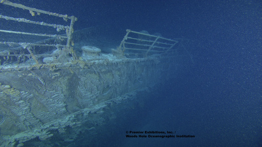 This photo obtained September 1, 2010 courtesy of  Premier Exhibitions, Inc./Woods Hole Oceanographic Institution, shows the bow railing of the Titanic. Once feared to be in danger of collapse, this photo shows that the bow is in good condition. A high-tech expedition has been forced to suspend its efforts to create a detailed map of the wreckage of the Titanic because of the approach of Hurricane Danielle.The high tech expedition began work earlier this month to explore the ocean floor where the ship sank nearly one hundred years ago, the crew said August 26, 2010. The Titanic, a luxury passenger ship once thought to be unsinkable, hit an iceberg on April 14, 1912 and sank in the early morning of April 15, 1912, killing 1,500 people. After decades of searching, the wreckage of the Titanic was discovered in 1985 some four kilometers (2.5 miles) beneath the surface of the sea. AFP PHOTO/MANDATORY CREDIT-Premier Exhibitions, Inc. / Woods Hole Oceanographic Institution/HANDOUT/RESTRICTED TO EDITORIAL USE/NO SALES