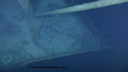 This photo obtained August 31, 2010 courtesy of  Premier Exhibitions, Inc./Woods Hole Oceanographic Institution, shows a birds-eye view of the Titanic bow. Once feared to be in danger of collapse, this photo shows that the bow is in good condition. A high-tech expedition has been forced to suspend its efforts to create a detailed map of the wreckage of the Titanic because of the approach of Hurricane Danielle.The high tech expedition began work earlier this month to explore the ocean floor where the ship sank nearly one hundred years ago, the crew said August 26, 2010. The Titanic, a luxury passenger ship once thought to be unsinkable, hit an iceberg on April 14, 1912 and sank in the early morning of April 15, 1912, killing 1,500 people. After decades of searching, the wreckage of the Titanic was discovered in 1985 some four kilometers (2.5 miles) beneath the surface of the sea. AFP PHOTO/MANDATORY CREDIT-Premier Exhibitions, Inc. / Woods Hole Oceanographic Institution/HANDOUT/RESTRICTED TO EDITORIAL USE/NO SALES