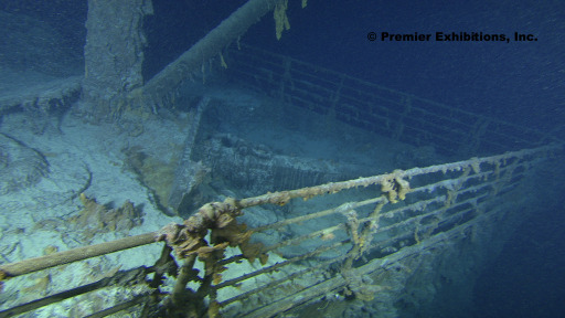 This photo obtained August 31, 2010 courtesy of  Premier Exhibitions, Inc./Woods Hole Oceanographic Institution, shows the Titanic Bow from the starboard side. Cutting-edge and 3D technology have helped to produce this picture, the clearest to date. A high-tech expedition has been forced to suspend its efforts to create a detailed map of the wreckage of the Titanic because of the approach of Hurricane Danielle.The high tech expedition began work earlier this month to explore the ocean floor where the ship sank nearly one hundred years ago, the crew said August 26, 2010. The Titanic, a luxury passenger ship once thought to be unsinkable, hit an iceberg on April 14, 1912 and sank in the early morning of April 15, 1912, killing 1,500 people. After decades of searching, the wreckage of the Titanic was discovered in 1985 some four kilometers (2.5 miles) beneath the surface of the sea. AFP PHOTO/MANDATORY CREDIT-Premier Exhibitions, Inc. / Woods Hole Oceanographic Institution/HANDOUT/RESTRICTED TO EDITORIAL USE/NO SALES