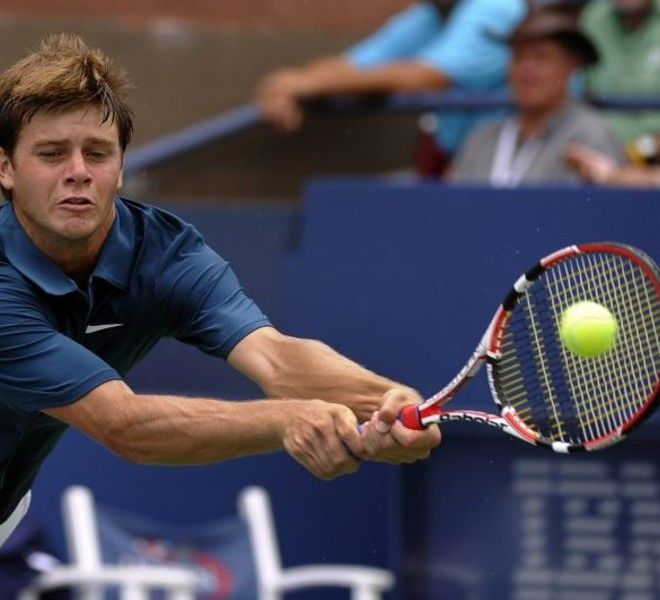 Ryan Harrison of the US plays against Sergiy Stakhovsky of the Ukraine during their US Open 2010 match at the USTA Billie Jean King National Tennis Center in New York September 3, 2010. AFP PHOTO / TIMOTHY A. CLARY