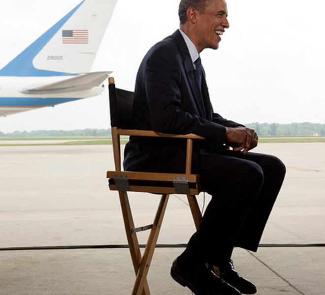 President Barack Obama is interviewed by Chuck Todd, of NBC News, at Gerald R. Ford International Airport in Grand Rapids, Mich., July 15, 2010. (Official White House Photo by Pete Souza)