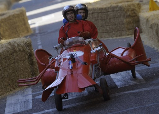 Participants take part in the Red Bull Wacky Races in Vigo, northwestern Spain, on September 19, 2010. AFP PHOTO/MIGUEL RIOPA