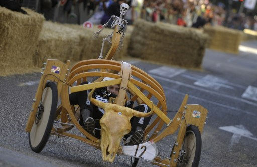 A contestant takes part in the Red Bull Wacky Races in Vigo, northwestern Spain, on September 19, 2010. AFP PHOTO/MIGUEL RIOPA