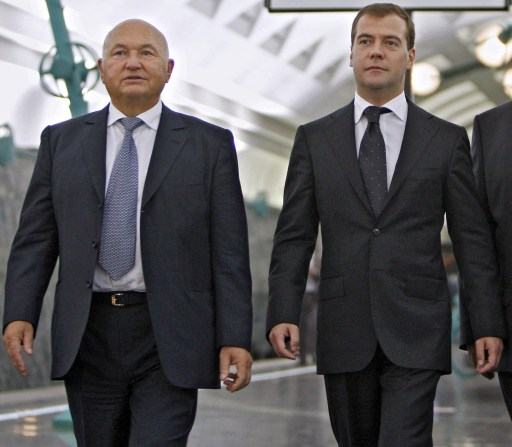 "(FILES) A file photo taken on September 7, 2008 shows Russian President Dmitry Medvedev (R) and Moscow's Mayor Yury Luzhkov visiting a new subway station in Moscow. Medvedev on September 28, 2010 fired Luzhkov, ending a controversial 18 year rule that saw the Russian capital boom but also attracted bitter criticism. A decree, published on the Kremlin website, ordered Luzhkov, 74, to be ""dismissed from the position of Moscow mayor because he has lost the confidence of the Russian president.""  AFP PHOTO / DMITRY ASTAKHOV"
