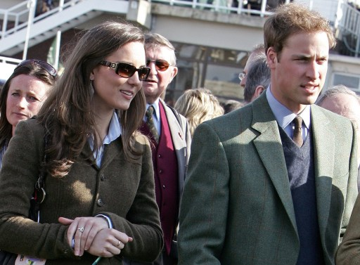 (FILES) A file photo taken on March 13, 2007, shows Britain's Prince William (R) and his girlfriend Kate Middleton on the first day of the Cheltenham Race Festival at Cheltenham Race course, in Gloucestershire. Prince William, the second in line to the throne, will marry his long-term girlfriend Kate Middleton next year, Clarence House said Tuesday November 16, 2010. William, 28, the eldest son of heir to the throne Prince Charles and the late Princess Diana, and Middleton, also 28, became engaged in October while on holiday in Kenya, it said in a statement. AFP PHOTO/CARL DE SOUZA/FILES