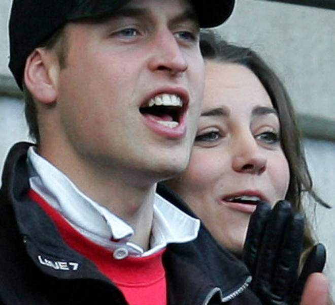 (FILES) A file photo taken 10 February 2007 shows Britain's Prince William and his girlfriend Kate Middleton react as as England's Jason Robinson scores a try during their Six Nations Rugby Union match against Italy at Twickenham Stadium, south London.  Britain's Prince William, the second in line to the throne, will marry his long-term girlfriend Kate Middleton next year, Clarence House said Tuesday, November 16, 2010.  William, 28, the eldest son of heir to the throne Prince Charles and the late Princess Diana, and Middleton, also 28, became engaged in October while on holiday in Kenya, it said in a statement.     AFP PHOTO/STRINGER/FILES