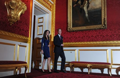 Britain's Prince William and his fianc?e Kate Middleton arrive for a photocall to mark their engagement, in the State Rooms of St James?s Palace, central London on November 16, 2010.  Prince William will marry his girlfriend Kate Middleton next year, the royal family said Tuesday, in the biggest royal wedding in Britain since his parents Charles and Diana married in 1981.  The announcement ended feverish speculation about when the second-in-line to the throne would wed, after a romance that has already lasted nearly eight years.            AFP PHOTO / BEN STANSALL