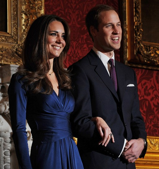 Britain's Prince William and his fianc?e Kate Middleton pose for photographers during a photocall to mark their engagement, in the State Rooms of St James?s Palace, central London on November 16, 2010.  Britain's Prince William has given his fiancee Kate Middleton the engagement ring that belonged to his late mother Diana, Princess of Wales, Clarence House said Tuesday.  The blue sapphire and diamond ring was given to Diana by William's father, Prince Charles, when they became engaged in February 1981. Charles and Diana divorced in 1996 and she was killed in a car crash in Paris the following year.      AFP PHOTO / BEN STANSALL