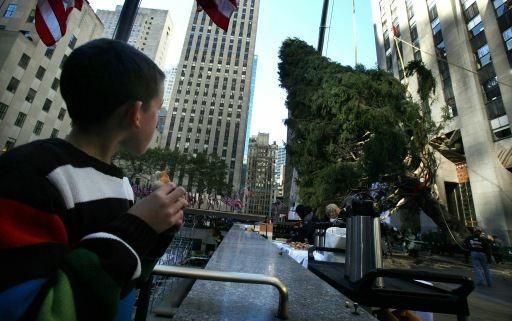 NEW YORK - NOVEMBER 12: A boy watches as workers install the new Rockefeller Center Christmas tree November 12, 2010 in New York City. Veteran FDNY firefighter Peter Acton, who worked at Ground Zero, donated the 12-ton, 74-foot Norway spruce which was cut down at his Mahopac, New York home.   Mario Tama/Getty Images/AFP== FOR NEWSPAPERS, INTERNET, TELCOS & TELEVISION USE ONLY ==