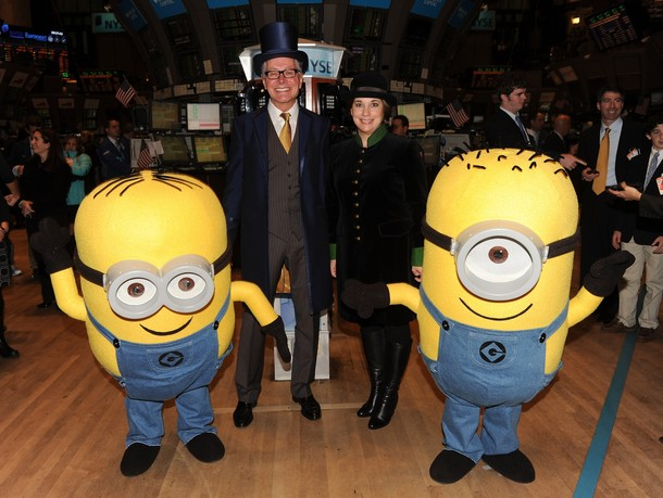 NEW YORK - NOVEMBER 24:  Former executive Producer of The Macy's Thanksgiving Day Parade Robin Hall, executive producer Amy Kule, and minions from 'Despicable Me' celebrate the 84th Thanksgiving Day Parade at New York Stock Exchange on November 24, 2010 in New York, New York.  (Photo by Stephen Lovekin/Getty Images)