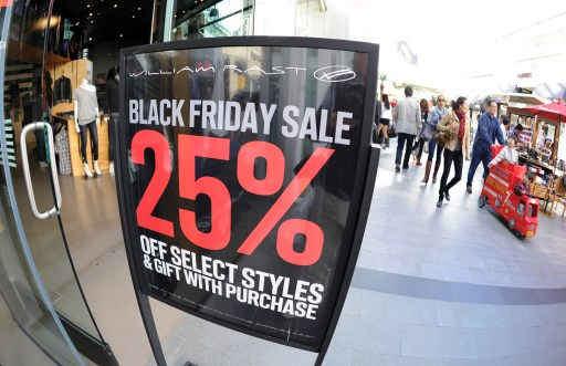 "People shop at the Century City shopping mall in Los Angeles, California, for the day after Thanksgiving ""Black Friday"" sales on November 26, 2010. Black Friday is traditionally the busiest shopping day of the year and kicks off the holiday shopping season for retailers. AFP PHOTO / GABRIEL BOUYS"