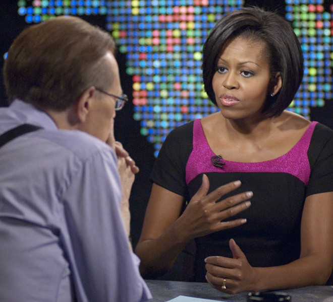 CNN's Larry King interviews First Lady Michelle Obama during a taping of Larry King Live on Tuesday, February 9, 2010 in Washington D.C. The show is slated to air at 9pm ET that same night.