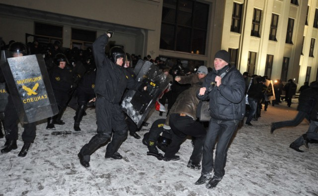 A group of people is surrounded by riot police during an opposition rally in Minsk early on December 20, 2010. Belarus police arrested hundreds of protestors as they used force to break up a mass demonstration against the expected re-election of President Alexander Lukashenko in disputed polls on Sunday. AFP PHOTO/ VIKTOR DRACHEV , Riot policemen arrest a man during an opposition rally in Minsk early on December 20, 2010. Belarus police arrested hundreds of protestors as they used force to break up a mass demonstration against the expected re-election of President Alexander Lukashenko in disputed polls on Sunday. AFP PHOTO/ VIKTOR DRACHEV , A protester is arrrested by riot police during an opposition rally in Minsk early on December 20, 2010. Belarus police arrested hundreds of protestors as they used force to break up a mass demonstration against the expected re-election of President Alexander Lukashenko in disputed polls on Sunday. AFP PHOTO/ VIKTOR DRACHEV , Protesters face riot police during an opposition rally in Minsk early on December 20, 2010. Belarus police arrested hundreds of protestors as they used force to break up a mass demonstration against the expected re-election of President Alexander Lukashenko in disputed polls on Sunday.      TOPSHOTS     AFP PHOTO/ VIKTOR DRACHEV , Protesters shout slogans during a march in the center of Minsk on December 19, 2010 as tens of thousands of opponents of Belarussian President Alexander Lukashenko rallied after disputed elections. Protestors demonstrating against elections in Belarus tried to storm the government headquarters in central Minsk, smashing the glass doors of the building, an AFP correspondent reported. AFP PHOTO/ VIKTOR DRACHEV , Protesters shout slogans during a march in the center of Minsk on December 19, 2010 as tens of thousands of opponents of Belarussian President Alexander Lukashenko rallied after disputed elections. Protestors demonstrating against elections in Belarus tried to storm the government headquarters in central Minsk, smashing the glass doors of the building, an AFP correspondent reported. AFP PHOTO/ VIKTOR DRACHEV , Protesters shout slogans during a march in the center of Minsk on December 19, 2010 as tens of thousands of opponents of Belarussian President Alexander Lukashenko rallied after disputed elections. Protestors demonstrating against elections in Belarus tried to storm the government headquarters in central Minsk, smashing the glass doors of the building, an AFP correspondent reported. AFP PHOTO/ VIKTOR DRACHEV , Protesters march in the center of Minsk on December 19, 2010 as tens of thousands of opponents of Belarussian President Alexander Lukashenko rallied after disputed elections. Protestors demonstrating against elections in Belarus tried to storm the government headquarters in central Minsk, smashing the glass doors of the building, an AFP correspondent reported. AFP PHOTO/ VIKTOR DRACHEV , Anti riot police face protesters during an opposition rally in Minsk early on December 20, 2010. Belarus police arrested hundreds of protestors as they used force to break up a mass demonstration against the expected re-election of President Alexander Lukashenko in disputed polls on Sunday. AFP PHOTO/ ANDREY SMIRNOV , Riot police arrests protesters during an opposition rally in Minsk early on December 20, 2010. Belarus police arrested hundreds of protestors as they used force to break up a mass demonstration against the expected re-election of President Alexander Lukashenko in disputed polls on Sunday. AFP PHOTO/ ALEXEY GROMOV , Riot police face protesters during an opposition rally in Minsk early on December 20, 2010. Belarus police arrested hundreds of protestors as they used force to break up a mass demonstration against the expected re-election of President Alexander Lukashenko in disputed polls on Sunday. AFP PHOTO/ ALEXEY GROMOV , Riot police clash with protesters during an oppsition rally in Minsk early on December 20, 2010. Belarus police arrested hundreds of protestors as they used force to break up a mass demonstration against the expected re-election of President Alexander Lukashenko in disputed polls on Sunday. AFP PHOTO/ ALEXEY GROMOV , Protesters try to storm into the Belarus government building during an opposition rally in Minsk early on December 20, 2010. Belarus police arrested hundreds of protestors as they used force to break up a mass demonstration against the expected re-election of President Alexander Lukashenko in disputed polls on Sunday. AFP PHOTO/ ALEXEY GROMOV , Protesters try to break in the Belarus government building during an opposition rally in Minsk early on December 20, 2010. Belarus police arrested hundreds of protestors as they used force to break up a mass demonstration against the expected re-election of President Alexander Lukashenko in disputed polls on Sunday. AFP PHOTO/ ALEXEY GROMOV , Protesters try to break in the Belarus government building during an opposition rally in Minsk early on December 20, 2010. Belarus police arrested hundreds of protestors as they used force to break up a mass demonstration against the expected re-election of President Alexander Lukashenko in disputed polls on Sunday. AFP PHOTO/ ALEXEY GROMOV , Protesters clash with riot police during an opposition rally in Minsk early on December 20, 2010. Belarus police arrested hundreds of protestors as they used force to break up a mass demonstration against the expected re-election of President Alexander Lukashenko in disputed polls on Sunday. AFP PHOTO/ VIKTOR DRACHEV