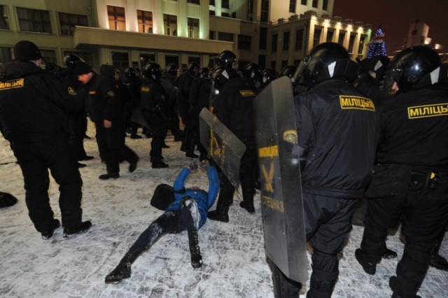 A group of people is surrounded by riot police during an opposition rally in Minsk early on December 20, 2010. Belarus police arrested hundreds of protestors as they used force to break up a mass demonstration against the expected re-election of President Alexander Lukashenko in disputed polls on Sunday. AFP PHOTO/ VIKTOR DRACHEV , Riot policemen arrest a man during an opposition rally in Minsk early on December 20, 2010. Belarus police arrested hundreds of protestors as they used force to break up a mass demonstration against the expected re-election of President Alexander Lukashenko in disputed polls on Sunday. AFP PHOTO/ VIKTOR DRACHEV , A protester is arrrested by riot police during an opposition rally in Minsk early on December 20, 2010. Belarus police arrested hundreds of protestors as they used force to break up a mass demonstration against the expected re-election of President Alexander Lukashenko in disputed polls on Sunday. AFP PHOTO/ VIKTOR DRACHEV , Protesters face riot police during an opposition rally in Minsk early on December 20, 2010. Belarus police arrested hundreds of protestors as they used force to break up a mass demonstration against the expected re-election of President Alexander Lukashenko in disputed polls on Sunday.      TOPSHOTS     AFP PHOTO/ VIKTOR DRACHEV , Protesters shout slogans during a march in the center of Minsk on December 19, 2010 as tens of thousands of opponents of Belarussian President Alexander Lukashenko rallied after disputed elections. Protestors demonstrating against elections in Belarus tried to storm the government headquarters in central Minsk, smashing the glass doors of the building, an AFP correspondent reported. AFP PHOTO/ VIKTOR DRACHEV , Protesters shout slogans during a march in the center of Minsk on December 19, 2010 as tens of thousands of opponents of Belarussian President Alexander Lukashenko rallied after disputed elections. Protestors demonstrating against elections in Belarus tried to storm the government headquarters in central Minsk, smashing the glass doors of the building, an AFP correspondent reported. AFP PHOTO/ VIKTOR DRACHEV , Protesters shout slogans during a march in the center of Minsk on December 19, 2010 as tens of thousands of opponents of Belarussian President Alexander Lukashenko rallied after disputed elections. Protestors demonstrating against elections in Belarus tried to storm the government headquarters in central Minsk, smashing the glass doors of the building, an AFP correspondent reported. AFP PHOTO/ VIKTOR DRACHEV , Protesters march in the center of Minsk on December 19, 2010 as tens of thousands of opponents of Belarussian President Alexander Lukashenko rallied after disputed elections. Protestors demonstrating against elections in Belarus tried to storm the government headquarters in central Minsk, smashing the glass doors of the building, an AFP correspondent reported. AFP PHOTO/ VIKTOR DRACHEV , Anti riot police face protesters during an opposition rally in Minsk early on December 20, 2010. Belarus police arrested hundreds of protestors as they used force to break up a mass demonstration against the expected re-election of President Alexander Lukashenko in disputed polls on Sunday. AFP PHOTO/ ANDREY SMIRNOV , Riot police arrests protesters during an opposition rally in Minsk early on December 20, 2010. Belarus police arrested hundreds of protestors as they used force to break up a mass demonstration against the expected re-election of President Alexander Lukashenko in disputed polls on Sunday. AFP PHOTO/ ALEXEY GROMOV , Riot police face protesters during an opposition rally in Minsk early on December 20, 2010. Belarus police arrested hundreds of protestors as they used force to break up a mass demonstration against the expected re-election of President Alexander Lukashenko in disputed polls on Sunday. AFP PHOTO/ ALEXEY GROMOV , Riot police clash with protesters during an oppsition rally in Minsk early on December 20, 2010. Belarus police arrested hundreds of protestors as they used force to break up a mass demonstration against the expected re-election of President Alexander Lukashenko in disputed polls on Sunday. AFP PHOTO/ ALEXEY GROMOV , Protesters try to storm into the Belarus government building during an opposition rally in Minsk early on December 20, 2010. Belarus police arrested hundreds of protestors as they used force to break up a mass demonstration against the expected re-election of President Alexander Lukashenko in disputed polls on Sunday. AFP PHOTO/ ALEXEY GROMOV , Protesters try to break in the Belarus government building during an opposition rally in Minsk early on December 20, 2010. Belarus police arrested hundreds of protestors as they used force to break up a mass demonstration against the expected re-election of President Alexander Lukashenko in disputed polls on Sunday. AFP PHOTO/ ALEXEY GROMOV , Protesters try to break in the Belarus government building during an opposition rally in Minsk early on December 20, 2010. Belarus police arrested hundreds of protestors as they used force to break up a mass demonstration against the expected re-election of President Alexander Lukashenko in disputed polls on Sunday. AFP PHOTO/ ALEXEY GROMOV , Protesters clash with riot police during an opposition rally in Minsk early on December 20, 2010. Belarus police arrested hundreds of protestors as they used force to break up a mass demonstration against the expected re-election of President Alexander Lukashenko in disputed polls on Sunday. AFP PHOTO/ VIKTOR DRACHEV , Protesters clash with riot police during an opposition rally in Minsk early on December 20, 2010. Belarus police arrested hundreds of protestors as they used force to break up a mass demonstration against the expected re-election of President Alexander Lukashenko in disputed polls on Sunday. AFP PHOTO/ VIKTOR DRACHEV , A protester gestures towards riot police during an opposition rally in Minsk early on December 20, 2010. Belarus police arrested hundreds of protestors as they used force to break up a mass demonstration against the expected re-election of President Alexander Lukashenko in disputed polls on Sunday. AFP PHOTO/ VIKTOR DRACHEV , A protester lies on the ground as riot police clashed with demonstrators during an opposition rally in Minsk early on December 20, 2010. Belarus police arrested hundreds of protestors as they used force to break up a mass demonstration against the expected re-election of President Alexander Lukashenko in disputed polls on Sunday. AFP PHOTO/ VIKTOR DRACHEV