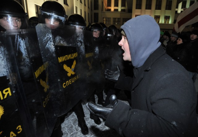 A group of people is surrounded by riot police during an opposition rally in Minsk early on December 20, 2010. Belarus police arrested hundreds of protestors as they used force to break up a mass demonstration against the expected re-election of President Alexander Lukashenko in disputed polls on Sunday. AFP PHOTO/ VIKTOR DRACHEV , Riot policemen arrest a man during an opposition rally in Minsk early on December 20, 2010. Belarus police arrested hundreds of protestors as they used force to break up a mass demonstration against the expected re-election of President Alexander Lukashenko in disputed polls on Sunday. AFP PHOTO/ VIKTOR DRACHEV , A protester is arrrested by riot police during an opposition rally in Minsk early on December 20, 2010. Belarus police arrested hundreds of protestors as they used force to break up a mass demonstration against the expected re-election of President Alexander Lukashenko in disputed polls on Sunday. AFP PHOTO/ VIKTOR DRACHEV , Protesters face riot police during an opposition rally in Minsk early on December 20, 2010. Belarus police arrested hundreds of protestors as they used force to break up a mass demonstration against the expected re-election of President Alexander Lukashenko in disputed polls on Sunday.      TOPSHOTS     AFP PHOTO/ VIKTOR DRACHEV , Protesters shout slogans during a march in the center of Minsk on December 19, 2010 as tens of thousands of opponents of Belarussian President Alexander Lukashenko rallied after disputed elections. Protestors demonstrating against elections in Belarus tried to storm the government headquarters in central Minsk, smashing the glass doors of the building, an AFP correspondent reported. AFP PHOTO/ VIKTOR DRACHEV , Protesters shout slogans during a march in the center of Minsk on December 19, 2010 as tens of thousands of opponents of Belarussian President Alexander Lukashenko rallied after disputed elections. Protestors demonstrating against elections in Belarus tried to storm the government headquarters in central Minsk, smashing the glass doors of the building, an AFP correspondent reported. AFP PHOTO/ VIKTOR DRACHEV , Protesters shout slogans during a march in the center of Minsk on December 19, 2010 as tens of thousands of opponents of Belarussian President Alexander Lukashenko rallied after disputed elections. Protestors demonstrating against elections in Belarus tried to storm the government headquarters in central Minsk, smashing the glass doors of the building, an AFP correspondent reported. AFP PHOTO/ VIKTOR DRACHEV , Protesters march in the center of Minsk on December 19, 2010 as tens of thousands of opponents of Belarussian President Alexander Lukashenko rallied after disputed elections. Protestors demonstrating against elections in Belarus tried to storm the government headquarters in central Minsk, smashing the glass doors of the building, an AFP correspondent reported. AFP PHOTO/ VIKTOR DRACHEV , Anti riot police face protesters during an opposition rally in Minsk early on December 20, 2010. Belarus police arrested hundreds of protestors as they used force to break up a mass demonstration against the expected re-election of President Alexander Lukashenko in disputed polls on Sunday. AFP PHOTO/ ANDREY SMIRNOV , Riot police arrests protesters during an opposition rally in Minsk early on December 20, 2010. Belarus police arrested hundreds of protestors as they used force to break up a mass demonstration against the expected re-election of President Alexander Lukashenko in disputed polls on Sunday. AFP PHOTO/ ALEXEY GROMOV , Riot police face protesters during an opposition rally in Minsk early on December 20, 2010. Belarus police arrested hundreds of protestors as they used force to break up a mass demonstration against the expected re-election of President Alexander Lukashenko in disputed polls on Sunday. AFP PHOTO/ ALEXEY GROMOV , Riot police clash with protesters during an oppsition rally in Minsk early on December 20, 2010. Belarus police arrested hundreds of protestors as they used force to break up a mass demonstration against the expected re-election of President Alexander Lukashenko in disputed polls on Sunday. AFP PHOTO/ ALEXEY GROMOV , Protesters try to storm into the Belarus government building during an opposition rally in Minsk early on December 20, 2010. Belarus police arrested hundreds of protestors as they used force to break up a mass demonstration against the expected re-election of President Alexander Lukashenko in disputed polls on Sunday. AFP PHOTO/ ALEXEY GROMOV , Protesters try to break in the Belarus government building during an opposition rally in Minsk early on December 20, 2010. Belarus police arrested hundreds of protestors as they used force to break up a mass demonstration against the expected re-election of President Alexander Lukashenko in disputed polls on Sunday. AFP PHOTO/ ALEXEY GROMOV , Protesters try to break in the Belarus government building during an opposition rally in Minsk early on December 20, 2010. Belarus police arrested hundreds of protestors as they used force to break up a mass demonstration against the expected re-election of President Alexander Lukashenko in disputed polls on Sunday. AFP PHOTO/ ALEXEY GROMOV , Protesters clash with riot police during an opposition rally in Minsk early on December 20, 2010. Belarus police arrested hundreds of protestors as they used force to break up a mass demonstration against the expected re-election of President Alexander Lukashenko in disputed polls on Sunday. AFP PHOTO/ VIKTOR DRACHEV , Protesters clash with riot police during an opposition rally in Minsk early on December 20, 2010. Belarus police arrested hundreds of protestors as they used force to break up a mass demonstration against the expected re-election of President Alexander Lukashenko in disputed polls on Sunday. AFP PHOTO/ VIKTOR DRACHEV , A protester gestures towards riot police during an opposition rally in Minsk early on December 20, 2010. Belarus police arrested hundreds of protestors as they used force to break up a mass demonstration against the expected re-election of President Alexander Lukashenko in disputed polls on Sunday. AFP PHOTO/ VIKTOR DRACHEV