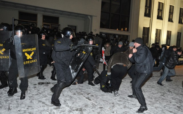 A group of people is surrounded by riot police during an opposition rally in Minsk early on December 20, 2010. Belarus police arrested hundreds of protestors as they used force to break up a mass demonstration against the expected re-election of President Alexander Lukashenko in disputed polls on Sunday. AFP PHOTO/ VIKTOR DRACHEV , Riot policemen arrest a man during an opposition rally in Minsk early on December 20, 2010. Belarus police arrested hundreds of protestors as they used force to break up a mass demonstration against the expected re-election of President Alexander Lukashenko in disputed polls on Sunday. AFP PHOTO/ VIKTOR DRACHEV , A protester is arrrested by riot police during an opposition rally in Minsk early on December 20, 2010. Belarus police arrested hundreds of protestors as they used force to break up a mass demonstration against the expected re-election of President Alexander Lukashenko in disputed polls on Sunday. AFP PHOTO/ VIKTOR DRACHEV , Protesters face riot police during an opposition rally in Minsk early on December 20, 2010. Belarus police arrested hundreds of protestors as they used force to break up a mass demonstration against the expected re-election of President Alexander Lukashenko in disputed polls on Sunday.      TOPSHOTS     AFP PHOTO/ VIKTOR DRACHEV , Protesters shout slogans during a march in the center of Minsk on December 19, 2010 as tens of thousands of opponents of Belarussian President Alexander Lukashenko rallied after disputed elections. Protestors demonstrating against elections in Belarus tried to storm the government headquarters in central Minsk, smashing the glass doors of the building, an AFP correspondent reported. AFP PHOTO/ VIKTOR DRACHEV , Protesters shout slogans during a march in the center of Minsk on December 19, 2010 as tens of thousands of opponents of Belarussian President Alexander Lukashenko rallied after disputed elections. Protestors demonstrating against elections in Belarus tried to storm the government headquarters in central Minsk, smashing the glass doors of the building, an AFP correspondent reported. AFP PHOTO/ VIKTOR DRACHEV , Protesters shout slogans during a march in the center of Minsk on December 19, 2010 as tens of thousands of opponents of Belarussian President Alexander Lukashenko rallied after disputed elections. Protestors demonstrating against elections in Belarus tried to storm the government headquarters in central Minsk, smashing the glass doors of the building, an AFP correspondent reported. AFP PHOTO/ VIKTOR DRACHEV , Protesters march in the center of Minsk on December 19, 2010 as tens of thousands of opponents of Belarussian President Alexander Lukashenko rallied after disputed elections. Protestors demonstrating against elections in Belarus tried to storm the government headquarters in central Minsk, smashing the glass doors of the building, an AFP correspondent reported. AFP PHOTO/ VIKTOR DRACHEV , Anti riot police face protesters during an opposition rally in Minsk early on December 20, 2010. Belarus police arrested hundreds of protestors as they used force to break up a mass demonstration against the expected re-election of President Alexander Lukashenko in disputed polls on Sunday. AFP PHOTO/ ANDREY SMIRNOV , Riot police arrests protesters during an opposition rally in Minsk early on December 20, 2010. Belarus police arrested hundreds of protestors as they used force to break up a mass demonstration against the expected re-election of President Alexander Lukashenko in disputed polls on Sunday. AFP PHOTO/ ALEXEY GROMOV , Riot police face protesters during an opposition rally in Minsk early on December 20, 2010. Belarus police arrested hundreds of protestors as they used force to break up a mass demonstration against the expected re-election of President Alexander Lukashenko in disputed polls on Sunday. AFP PHOTO/ ALEXEY GROMOV , Riot police clash with protesters during an oppsition rally in Minsk early on December 20, 2010. Belarus police arrested hundreds of protestors as they used force to break up a mass demonstration against the expected re-election of President Alexander Lukashenko in disputed polls on Sunday. AFP PHOTO/ ALEXEY GROMOV , Protesters try to storm into the Belarus government building during an opposition rally in Minsk early on December 20, 2010. Belarus police arrested hundreds of protestors as they used force to break up a mass demonstration against the expected re-election of President Alexander Lukashenko in disputed polls on Sunday. AFP PHOTO/ ALEXEY GROMOV , Protesters try to break in the Belarus government building during an opposition rally in Minsk early on December 20, 2010. Belarus police arrested hundreds of protestors as they used force to break up a mass demonstration against the expected re-election of President Alexander Lukashenko in disputed polls on Sunday. AFP PHOTO/ ALEXEY GROMOV , Protesters try to break in the Belarus government building during an opposition rally in Minsk early on December 20, 2010. Belarus police arrested hundreds of protestors as they used force to break up a mass demonstration against the expected re-election of President Alexander Lukashenko in disputed polls on Sunday. AFP PHOTO/ ALEXEY GROMOV , Protesters clash with riot police during an opposition rally in Minsk early on December 20, 2010. Belarus police arrested hundreds of protestors as they used force to break up a mass demonstration against the expected re-election of President Alexander Lukashenko in disputed polls on Sunday. AFP PHOTO/ VIKTOR DRACHEV , Protesters clash with riot police during an opposition rally in Minsk early on December 20, 2010. Belarus police arrested hundreds of protestors as they used force to break up a mass demonstration against the expected re-election of President Alexander Lukashenko in disputed polls on Sunday. AFP PHOTO/ VIKTOR DRACHEV