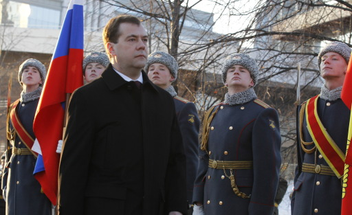 Russian President Dmitry Medvedev attends an opening ceremony of a monument to former Russia's president Boris Yeltsin in Yekaterinburg on February 1, 2011. Medvedev hailed Boris Yeltsin on the late leader's 80th birthday as a visionary who stared down Communism and absorbed the country's ire during subsequent years of pain. Yeltsin died at the age of 76 in 2007 with opinion still divided about his achievements as the country's first post-Soviet president.       AFP PHOTO/ RIA-NOVOSTI/ KREMLIN/ DMITRY ASTAKHOV
