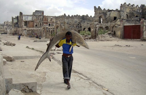 "RESTRICTED TO EDITORIAL USE - MANDATORY CREDIT ""AFP PHOTO / REUTERS / OMAR FEISAL"" - NO MARKETING NO ADVERTISING CAMPAIGNS - DISTRIBUTED AS A SERVICE TO CLIENTS -- NO ARCHIVE -- RESTRICTED TO SUBSCRIPTION USE This handout picture released on February 11, 2011 by World Press Photo shows a man carrying a shark through the streets of Mogadishu, Somalia, on September 23, 2010. Omar Feisal won the 1st Prize Daily Life Single in the World Press Photo 2010.   AFP PHOTO / REUTERS / OMAR FEISAL"