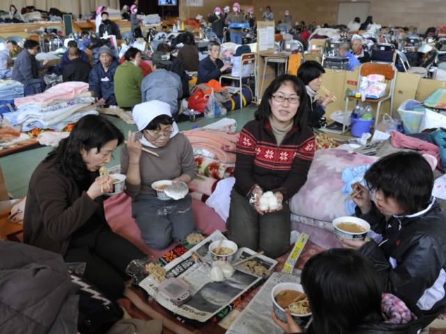 "Evacuees eat instant noodles for lunch at a shelter in Rikuzentakata in Iwate prefecture on March 18, 2011, one week after a massive earthquake and tsunami ravaged northeastern Japan. Japan battled a nuclear and humanitarian crisis on March 18 as engineers worked to restore power to a stricken atomic plant, while the toll of dead and missing from the quake and tsunami topped 16,000. AFP PHOTO / KAZUHIRO NOGI , Volunteers distribute rice balls during lunch at a shelter in Rikuzentakata in Iwate prefecture on March 18, 2011, one week after a massive earthquake and tsunami ravaged northeastern Japan. Japan battled a nuclear and humanitarian crisis on March 18 as engineers worked to restore power to a stricken atomic plant, while the toll of dead and missing from the quake and tsunami topped 16,000. AFP PHOTO / KAZUHIRO NOGI , Evacuees eat instant noodles for lunch at a shelter in Rikuzentakata in Iwate prefecture on March 18, 2011, one week after a massive earthquake and tsunami ravaged northeastern Japan. Japan battled a nuclear and humanitarian crisis on March 18 as engineers worked to restore power to a stricken atomic plant, while the toll of dead and missing from the quake and tsunami topped 16,000. AFP PHOTO / KAZUHIRO NOGI , Nurses take care of a patient who was evacuated from a nursing home in Tomioka town, 60 km from the nuclear power plant in Fukushima prefecture, in Koriyama on March 18, 2011. Japan battled a nuclear and humanitarian crisis as engineers worked to restore power to a stricken atomic plant, while the toll of dead and missing from the quake and tsunami topped 16,000.  AFP PHOTO / Ken SHIMIZU , Nurses take care of a patient who was evacuated from a nursing home in Tomioka town, 60 km from the nuclear power plant in Fukushima prefecture, in Koriyama on March 18, 2011. Japan battled a nuclear and humanitarian crisis as engineers worked to restore power to a stricken atomic plant, while the toll of dead and missing from the quake and tsunami topped 16,000.  AFP PHOTO / Ken SHIMIZU , Nurses take care of a patient who was evacuated from a nursing home in Tomioka town, 60 km from the nuclear power plant in Fukushima prefecture, in Koriyama on March 18, 2011. Japan battled a nuclear and humanitarian crisis as engineers worked to restore power to a stricken atomic plant, while the toll of dead and missing from the quake and tsunami topped 16,000.  AFP PHOTO / Ken SHIMIZU , A two-month old baby evacuated along with his parents from the town of Okuma, Fubata district in Fukushima prefecture where the TEPCO Fukushima Daiichi nuclear power plant, is given a bath by a volunteer, Junko Sakamoto in Koriyama city in Fukushima prefecture on March 18, 2011. Japan conducted new water cooling operations at a quake-hit nuclear plant, using a fleet of fire trucks as workers racing to avert a catastrophe also ran a power cable to the site.  AFP PHOTO / Go TAKAYAMA , A family evacuated from Tomioka town, located within 10km of the Fukushima Daiichi nuclear power plant, takes a bath for the first time since a massive earthquake and tsunami in the Total Health Clinic in Koriyama city in Fukushima prefecture on March 18, 2011. Japan battled a nuclear and humanitarian crisis on March 18 as engineers worked to restore power to a stricken atomic plant, while the toll of dead and missing from the quake and tsunami topped 16,000. AFP PHOTO / Go TAKAYAMA , A two-month old baby evacuated along with his parents from the town of Okuma, Fubata district in Fukushima prefecture where the TEPCO Fukushima Daiichi nuclear power plant, is given a bath by a volunteer, Junko Sakamoto in Koriyama city in Fukushima prefecture on March 18, 2011. Japan conducted new water cooling operations at a quake-hit nuclear plant, using a fleet of fire trucks as workers racing to avert a catastrophe also ran a power cable to the site.  AFP PHOTO / Go TAKAYAMA , A family clean out their house in the tsunami-devastated town of Otsuchi on March 18, 2011. Japan battled a nuclear and humanitarian crisis Friday as engineers worked to restore power to a stricken atomic plant, while the toll of dead and missing from the quake and tsunami topped 16,000.         AFP PHOTO / Nicholas KAMM , A family clean out their house in the tsunami-devastated town of Otsuchi on March 18, 2011. Japan battled a nuclear and humanitarian crisis Friday as engineers worked to restore power to a stricken atomic plant, while the toll of dead and missing from the quake and tsunami topped 16,000.         AFP PHOTO / Nicholas KAMM , A man cleans out his house in the tsunami-devastated town of Otsuchi on March 18, 2011. Japan battled a nuclear and humanitarian crisis Friday as engineers worked to restore power to a stricken atomic plant, while the toll of dead and missing from the quake and tsunami topped 16,000.         AFP PHOTO / Nicholas KAMM , A survivor queues for drinking water in Kesennuma in Miyagi prefecture on March 18, 2011 one week after a massive earthquake and tsunami devastated northeastern Japan.  Japan battled a nuclear and humanitarian crisis on March 18 as engineers worked to restore power to a stricken atomic plant, while the toll of dead and missing from the quake and tsunami topped 16,000.  AFP PHOTO / PHILIPPE LOPEZ , A man receives a medical check at a shelter in Rikuzentakata, Iwate prefecture on March 18, 2011, one week after the earthquake and tsunami disasters hit. Japan battled a nuclear and humanitarian crisis on March 18 as engineers worked to restore power to a stricken atomic plant, while the toll of dead and missing from the quake and tsunami topped 16,000.  AFP PHOTO / KAZUHIRO NOGI , A doctor sits apparently tired at a shelter in Rikuzentakata, Iwate prefecture on March 18, 2011, one week after the earthquake and tsunami disasters hit. Japan battled a nuclear and humanitarian crisis on March 18 as engineers worked to restore power to a stricken atomic plant, while the toll of dead and missing from the quake and tsunami topped 16,000.  AFP PHOTO / KAZUHIRO NOGI , Japanese rescuers move the body of a victim of the March 11 tsunami and earthquake found in a collapsed house in the city of Kesennuma in Miyagi prefecture on March 18, 2011. Japan battled a nuclear and humanitarian crisis on March 18 as engineers worked to restore power to a stricken atomic plant, while the toll of dead and missing from the quake and tsunami topped 16,000.   AFP PHOTO / KIM JAE-HWAN , Dozens of coffins are pictured on the floor of a hall in the town of Rifu in Miyagi prefecture on March 18, 2011 to help with the March 11 tsunami and earthquake victims. The official number of dead and missing after the devastating earthquake and tsunami that flattened Japan's northeast coast a week ago has topped 16,600, with 6,405 confirmed dead on March 18.  AFP PHOTO / JIJI PRESS , Dozens of coffins are placed on the floor of a hall in the town of Rifu in Miyagi prefecture on March 18, 2011 to help with the March 11 tsunami and earthquake victims. The official number of dead and missing after the devastating earthquake and tsunami that flattened Japan's northeast coast a week ago has topped 16,600, with 6,405 confirmed dead on March 18.  AFP PHOTO / JIJI PRESS , Japanese rescuers move the body of a victim of the March 11 tsunami and earthquake found in a collapsed house in the city of Kesennuma in Miyagi prefecture on March 18, 2011. Japan battled a nuclear and humanitarian crisis on March 18 as engineers worked to restore power to a stricken atomic plant, while the toll of dead and missing from the quake and tsunami topped 16,000.   AFP PHOTO / KIM JAE-HWAN , An elderly woman (L) and a relative are reunited at a center for displaced persons in the devastated town of Otsuchi, Iwate prefecture on March 18, 2011, one week after a massive 9.0 magnitude earthquake and tsunami hit the northestern coast of Japan's main island of Honshu. The number of people confirmed dead in the March 11 earthquake and tsunami in Japan has hit 6,539, surpassing the toll from the massive tremor in Kobe in 1995, police said on March 18.      AFP PHOTO / Nicholas KAMM , JAPAN OUT   RESTRICTED TO EDITORIAL USE  MANDATORY CREDIT ""AFP PHOTO / YOMIURI SHIMBUN"" Dozens of coffins are placed on the floor of a hall in the town of Rifu in Miyagi prefecture on March 18, 2011 to help with the victims of the March 11 earthquake and subsequent tsunami. The official number of dead and missing after the devastating earthquake and tsunami that flattened Japan's northeast coast a week ago has topped 16,600, with 6,405 confirmed dead on March 18.    JAPAN OUT    AFP PHOTO / YOMIURI SHIMBUN , JAPAN OUT   RESTRICTED TO EDITORIAL USE  MANDATORY CREDIT ""AFP PHOTO / YOMIURI SHIMBUN"" Dozens of coffins are placed on the floor of a hall in the town of Rifu in Miyagi prefecture on March 18, 2011 to help with the victims of the March 11 earthquake and subsequent tsunami. The official number of dead and missing after the devastating earthquake and tsunami that flattened Japan's northeast coast a week ago has topped 16,600, with 6,405 confirmed dead on March 18.    JAPAN OUT    AFP PHOTO / YOMIURI SHIMBUN , Evacuees eat instant noodles for lunch at a shelter in Rikuzentakata in Iwate prefecture on March 18, 2011, one week after a massive earthquake and tsunami ravaged northeastern Japan. Japan battled a nuclear and humanitarian crisis on March 18 as engineers worked to restore power to a stricken atomic plant, while the toll of dead and missing from the quake and tsunami topped 16,000. AFP PHOTO / KAZUHIRO NOGI"