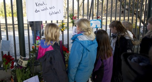 "Children stand next to flowers and a poster reading ""Knut, we will miss you"" in front of the entrance of the Berlin zoo (Zoologischer Garten) March 20, 2011. Germany was in stunned mourning after the sudden and premature death of Knut, Berlin's world-famous polar bear, who died on March 19, 2011, at the end of what animal welfare groups said was an unhappy, short life. AFP PHOTO / JOHANNES EISELE"