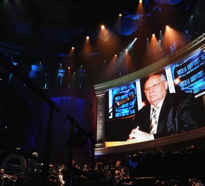 LONDON, ENGLAND - MARCH 30:  Former Soviet Leader Mikhail Gorbachev is displayed in the large screen during the Gorby 80 Gala at the Royal Albert Hall on March 30, 2011 in London, England. The concert is to celebrate the 80th birthday of the former Soviet leader Mikhail Gorbachev.  (Photo by Ian Gavan/Getty Images)
