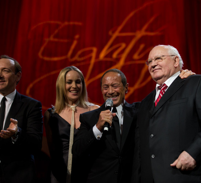 LONDON, ENGLAND - MARCH 30:  Kevin Spacey, Sharon Stone, Paul Anka and Mikhail Gorbachev on stage during the finale of the Gorby 80 Gala at the Royal Albert Hall on March 30, 2011 in London, England. The concert is to celebrate the 80th birthday of the former Soviet leader Mikhail Gorbachev. (Photo by Ian Gavan/Getty Images)
