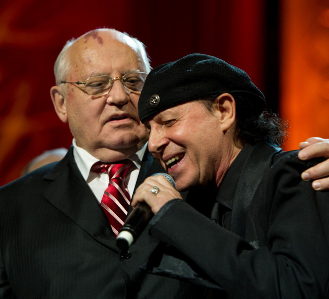 LONDON, ENGLAND - MARCH 30:  Mikhail Gorbachev and Klaus Meine embrace on stage during the finale of the Gorby 80 Gala at the Royal Albert Hall on March 30, 2011 in London, England. The concert is to celebrate the 80th birthday of the former Soviet leader Mikhail Gorbachev. (Photo by Ian Gavan/Getty Images)