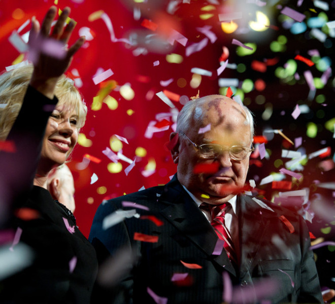 LONDON, ENGLAND - MARCH 30:  Irina Virganskaya and Mikhail Gorbachev appear on stage during the finale of the Gorby 80 Gala at the Royal Albert Hall on March 30, 2011 in London, England. The concert is to celebrate the 80th birthday of the former Soviet leader Mikhail Gorbachev. (Photo by Ian Gavan/Getty Images)