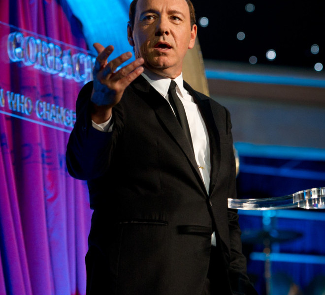 LONDON, ENGLAND - MARCH 30:  Host Kevin Spacey on stage during the finale of the Gorby 80 Gala at the Royal Albert Hall on March 30, 2011 in London, England. The concert is to celebrate the 80th birthday of the former Soviet leader Mikhail Gorbachev. (Photo by Ian Gavan/Getty Images)