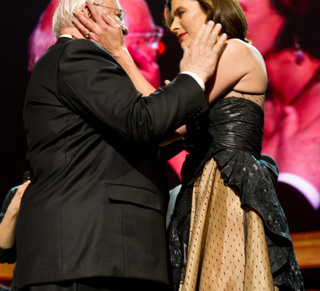 LONDON, ENGLAND - MARCH 30:  Mikhail Gorbachev and Mila Jovovich embrace on stage during the finale of the Gorby 80 Gala at the Royal Albert Hall on March 30, 2011 in London, England. The concert is to celebrate the 80th birthday of the former Soviet leader Mikhail Gorbachev (Photo by Ian Gavan/Getty Images)