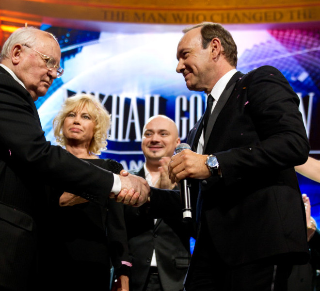 LONDON, ENGLAND - MARCH 30:  Mikhail Gorbachev and Kevin Spacey shake hands on stage during the finale of the Gorby 80 Gala at the Royal Albert Hall on March 30, 2011 in London, England. The concert is to celebrate the 80th birthday of the former Soviet leader Mikhail Gorbachev (Photo by Ian Gavan/Getty Images)