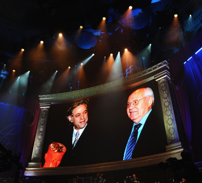 LONDON, ENGLAND - MARCH 30:  Former Soviet Leader Mikhail Gorbachev and Sir Bob Geldof is displayed in the large screen during the Gorby 80 Gala at the Royal Albert Hall on March 30, 2011 in London, England. The concert is to celebrate the 80th birthday of the former Soviet leader Mikhail Gorbachev.  (Photo by Ian Gavan/Getty Images)