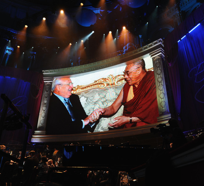 LONDON, ENGLAND - MARCH 30:  Former Soviet Leader Mikhail Gorbachev and the Dalai Lama is displayed in the large screen during the Gorby 80 Gala at the Royal Albert Hall on March 30, 2011 in London, England. The concert is to celebrate the 80th birthday of the former Soviet leader Mikhail Gorbachev.  (Photo by Ian Gavan/Getty Images)