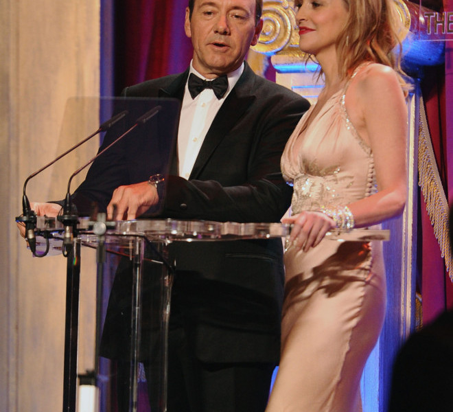 LONDON, ENGLAND - MARCH 30:  Actors Kevin Spacey and Sharon Stone host at the Gorby 80 Gala at the Royal Albert Hall on March 30, 2011 in London, England. The concert is to celebrate the 80th birthday of the former Soviet leader Mikhail Gorbachev.  (Photo by Ian Gavan/Getty Images)