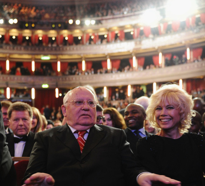 LONDON, ENGLAND - MARCH 30:  Former Soviet Leader Mikhail Gorbachev and Irina Virganskaya during the Gorby 80 Gala at the Royal Albert Hall on March 30, 2011 in London, England. The concert is to celebrate the 80th birthday of the former Soviet leader Mikhail Gorbachev.  (Photo by Ian Gavan/Getty Images)