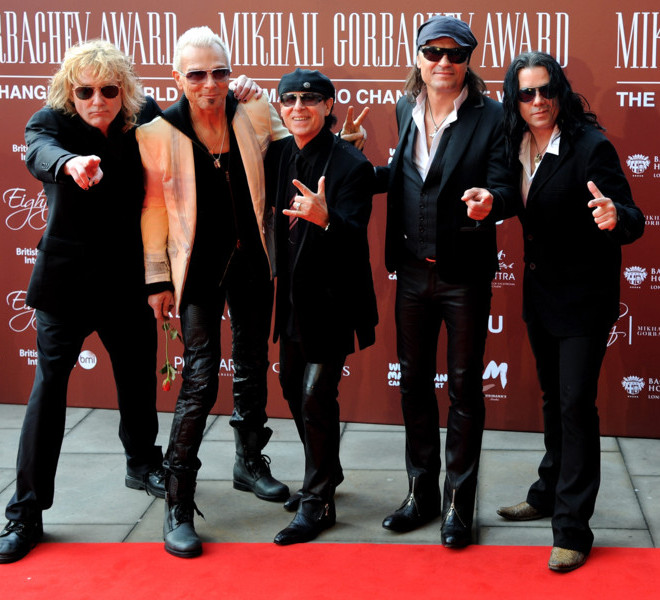 LONDON, ENGLAND - MARCH 30:  (L to R) James Kottak, Rudolf Schenker, Klaus Meine, Matthias Jabs and Pawel Maciwoda of The Scorpions attend the Gorby 80 Gala at the Royal Albert Hall on March 30, 2011 in London, England. The concert is to celebrate the 80th birthday of the former Soviet leader Mikhail Gorbachev.  (Photo by Eamonn McCormack/Getty Images)