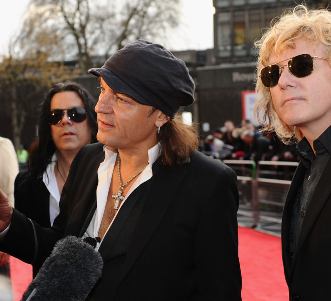 LONDON, ENGLAND - MARCH 30: Klaus Meine and  James Kottak of The Scorpions attend the Gorby 80 Gala at the Royal Albert Hall on March 30, 2011 in London, England. The concert is to celebrate the 80th birthday of the former Soviet leader Mikhail Gorbachev.  (Photo by Ian Gavan/Getty Images)