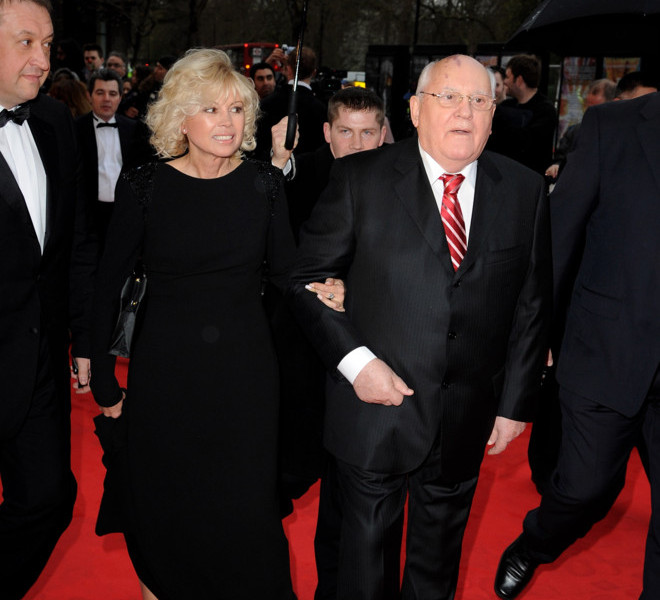LONDON, ENGLAND - MARCH 30:  Former Soviet leader Mikhail Gorbachev and Irina Virganskaya attend the Gorby 80 Gala at the Royal Albert Hall on March 30, 2011 in London, England. The concert is to celebrate the 80th birthday of the former Soviet leader Mikhail Gorbachev.  (Photo by Eamonn McCormack/Getty Images)