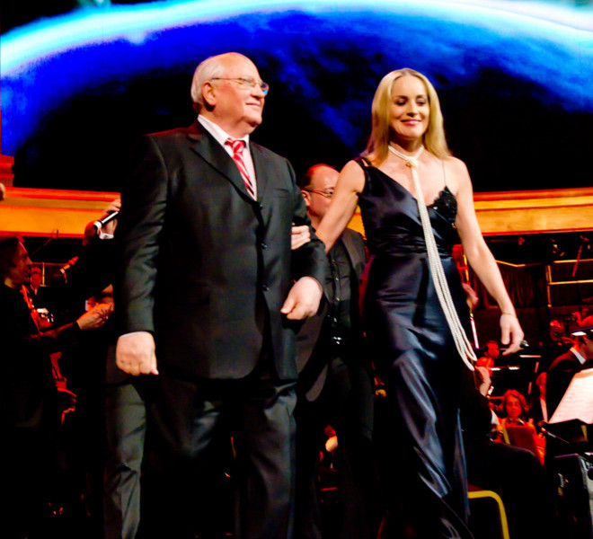 LONDON, ENGLAND - MARCH 30:  Mikhail Gorbachev appears on stage with host Sharon Stone during the finale of the Gorby 80 Gala at the Royal Albert Hall on March 30, 2011 in London, England. The concert is to celebrate the 80th birthday of the former Soviet leader Mikhail Gorbachev (Photo by Ian Gavan/Getty Images)