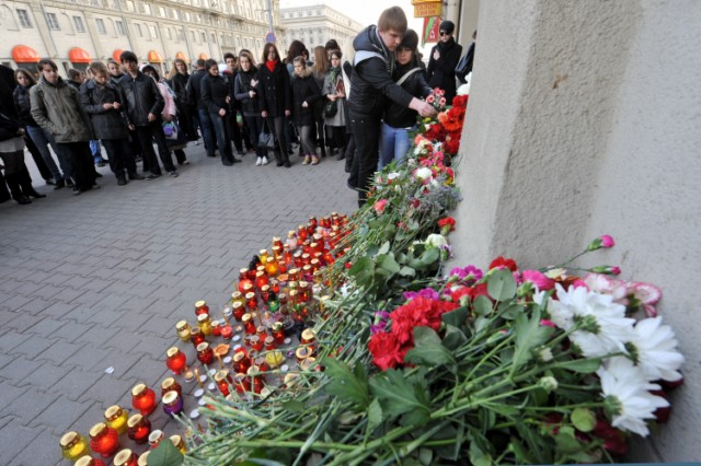 A woman mourns at the  entrance to the metro station hit by a blast in downtown Minsk, on April 12, 2011.  Several people have been arrested for the April 11 bombing on the Minsk metro that killed 12 and wounded 150, the first major apparent act of terror in its post-Soviet history. AFP PHOTO / VIKTOR DRACHEV , A woman places a candle near the entrance to the metro station hit by a blast in downtown Minsk, on April 12, 2011.  Several people have been arrested for the April 11 bombing on the Minsk metro that killed 12 and wounded 150, the first major apparent act of terror in its post-Soviet history.  AFP PHOTO / VIKTOR DRACHEV , A woman cries near an entrance to the metro station hit by a blast in downtown Minsk, on April 12, 2011.  Several people have been arrested for the April 11 bombing on the Minsk metro that killed 12 and wounded 150, the first major apparent act of terror in its post-Soviet history. AFP PHOTO / VIKTOR DRACHEV , A man mounts a Belarus flag with a mourning ribbon  in central Minsk early on April 12, 2011. The explosion at a busy metro station in the heart of the Belarussian capital near the headquarters of autocratic President Alexander Lukashenko stunned a city which has never seen attacks like those suffered in Russia. AFP PHOTO / ALEXEY GROMOV , A girl places candles near a stand with photos of the recent metro blast's victims mounted outside the metro station hit by the blast in downtown Minsk, on April 12, 2011.  Several people have been arrested for the April 11 bombing on the Minsk metro that killed 12 and wounded 150, the first major apparent act of terror in its post-Soviet history. AFP PHOTO / VIKTOR DRACHEV , People light candles early on April 12, 2011, outside a metro station hit by a blast in downtown Minsk. Belarus sought to identify the perpetrators behind the bombing on the Minsk metro that killed 12 and wounded 150 on April 11, the first major apparent act of terror in its post-Soviet history. AFP PHOTO / VIKTOR DRACHEV , A man lays flowers, early on April 12, 2011, outside a metro station hit by a blast in downtown Minsk on April 11. Belarus sought to identify the perpetrators behind the bombing on the Minsk metro that killed 12 and wounded 150, the first major apparent act of terror in its post-Soviet history. AFP PHOTO / VIKTOR DRACHEV , Japanese police officers climb up a slope after receiving a tsunami warning following a powerful tremor, one of hundreds of aftershocks stemming from the massive earthquake-tsunami that hit a month ago, in Minamisanriku, Miyagi prefecture on April 12, 2011.  Japan's Prime Minister Naoto Kan said that the tsunami-hit Fukushima nuclear plant is gradually stabilising and that the amount of radiation being released is falling.    AFP PHOTO / YASUYOSHI CHIBA , People lay flowers outside the Belarussian Embassy in Moscow on April 12, 2011, for the victims of the blast that hit a metro station in Minsk on April 11. The poster reads: ?Belarus, we are with you! Stay strong!?. Belarus  made the first arrests over the Minsk metro bombing that killed 12 commuters, the worst attack in its modern history which the authorities called a plot to destabilise the country.  AFP PHOTO / ANDREY SMIRNOV , A woman prays during a service for the victims of the recent metro station?s blast in a Orthodox cathedral in Minsk, on April 12, 2011. The explosion at a busy metro station in the heart of the Belarussian capital near the headquarters of autocratic President Alexander Lukashenko stunned a city which has never seen attacks like those suffered in Russia. AFP PHOTO / ALEXEY GROMOV , A woman cries as she lays flowers outside a metro station hit by a blast in central Minsk early on April 12, 2011. The explosion at a busy metro station in the heart of the Belarussian capital near the headquarters of autocratic President Alexander Lukashenko stunned a city which has never seen attacks like those suffered in Russia. AFP PHOTO / ALEXEY GROMOV , Relatives of the recent metro station blast victims cry at a hospital in Minsk on April 12, 2011. Belarus sought to identify the perpetrators behind the bombing on the Minsk metro that killed 12 and wounded 150 on April 11, the first major apparent act of terror in its post-Soviet history. AFP PHOTO / VIKTOR DRACHEV , People lay flowers and place candles outside the metro station hit by a blast in downtown Minsk, on April 12, 2011.  Belarus sought to identify the perpetrators behind the bombing on the Minsk metro that killed 12 and wounded 150 on April 11, the first major apparent act of terror in its post-Soviet history. AFP PHOTO / VIKTOR DRACHEV , People lay flowers and place candles outside a metro station hit by a blast in downtown Minsk, on April 12, 2011.  Belarus sought to identify the perpetrators behind the bombing on the Minsk metro that killed 12 and wounded 150 on April 11, the first major apparent act of terror in its post-Soviet history. AFP PHOTO / VIKTOR DRACHEV , People lay flowers and place candles outside a metro station hit by a blast in downtown Minsk, on April 12, 2011.  Belarus sought to identify the perpetrators behind the bombing on the Minsk metro that killed 12 and wounded 150 on April 11, the first major apparent act of terror in its post-Soviet history. AFP PHOTO / VIKTOR DRACHEV , People lay flowers and place candles outside a metro station hit by a blast in downtown Minsk, on April 12, 2011.  Belarus sought to identify the perpetrators behind the bombing on the Minsk metro that killed 12 and wounded 150 on April 11, the first major apparent act of terror in its post-Soviet history. AFP PHOTO / VIKTOR DRACHEV , People lay flowers and place candles outside a metro station hit by a blast in downtown Minsk, on April 12, 2011.  Belarus sought to identify the perpetrators behind the bombing on the Minsk metro that killed 12 and wounded 150 on April 11, the first major apparent act of terror in its post-Soviet history. AFP PHOTO / VIKTOR DRACHEV , Police officers stand guard  near flowers and candles outside a metro station hit by a blast in central Minsk, on April 12, 2011.  Belarus sought to identify the perpetrators behind the bombing on the Minsk metro that killed 12 and wounded 150 on April 11, the first major apparent act of terror in its post-Soviet history. AFP PHOTO / VIKTOR DRACHEV , People lay flowers and place candles outside a metro station hit by a blast in downtown Minsk, on April 12, 2011.  Several people have been arrested for the April 11 bombing on the Minsk metro that killed 12 and wounded 150, the first major apparent act of terror in its post-Soviet history. AFP PHOTO / VIKTOR DRACHEV , People lay flowers and place candles outside a metro station hit by a blast in downtown Minsk, on April 12, 2011.  Several people have been arrested for the April 11 bombing on the Minsk metro that killed 12 and wounded 150, the first major apparent act of terror in its post-Soviet history. AFP PHOTO / VIKTOR DRACHEV