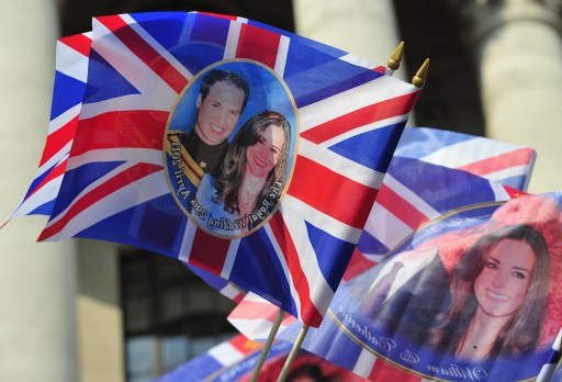 Royal wedding souvenirs are pictured in Trafalgar Square in central London, on April 28, 2011. Britain's Prince William is to marry his fiancee Kate Middleton at Westminster Abbey in London, on April 29, 2011. AFP PHOTO / GLYN KIRK