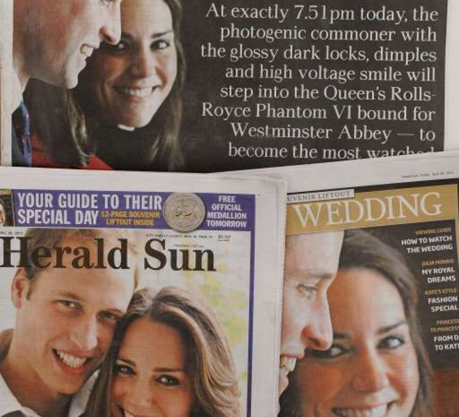 The morning newspapers in Melbourne show the keen interest shown by Australia's media in the wedding of Prince William and Kate Middleton on April 29, 2011.  Australians may pride themselves on their fiercely independent spirit, but the nation's media indulged royally in wedding fever as Britain's future king prepared to tie the knot.  With Prime Minister Julia Gillard in London to attend Prince William's marriage to Kate Middleton, the country's newspapers devoted front pages and lift-outs to the glamourous couple's upcoming marriage.  AFP PHOTO/William WEST