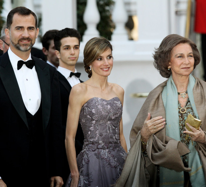 LONDON, ENGLAND - APRIL 28:  (L to R) Prince Felipe of Asturias, Princess Letizia of Asturias and Queen Sofia of Spain attend a gala pre-wedding dinner held at the Mandarin Oriental Hyde Park on April 28, 2011 in London, England.  (Photo by Chris Jackson/Getty Images)