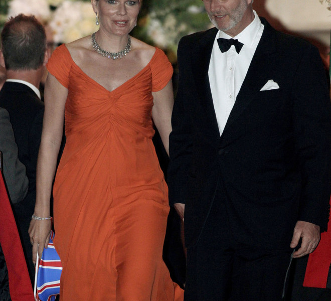 LONDON, ENGLAND - APRIL 28:  Princess Mathilde of Belgium (L) and Prince Philip of Belgium leave a gala pre-wedding dinner held at the Mandarin Oriental Hyde Park on April 28, 2011 in London, England.  (Photo by Matthew Lloyd/Getty Images)