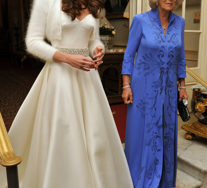 LONDON, UNITED KINGDOM - APRIL 29:  Catherine, Duchess of Cambridge (L) and Camilla, Duchess of Cornwall leave Clarence House to travel to Buckingham Palace for the evening celebrations following her wedding to Prince William, Duke of Cambridge on April 29, 2011 in London, England. The marriage of the second in line to the British throne was led by the Archbishop of Canterbury and was attended by 1900 guests, including foreign Royal family members and heads of state. Thousands of well-wishers from around the world have also flocked to London to witness the spectacle and pageantry of the Royal Wedding.  (Photo by John Stillwell - WPA Pool/Getty Images)