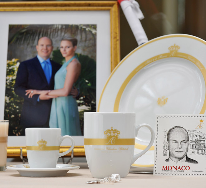 MONACO - MAY 28:  Official souvenir items for the Monaco royal wedding on May 28, 2011 in Monaco. Prince Albert II of Monaco and Charlene Wittstock of South Africa will be married in Monaco on July 2, 2011.  (Photo by Pascal Le Segretain/Getty Images)